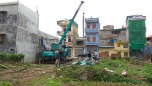 Thi công ép cọc bê tông cho dự án nhà vườn 1 tầng của chú Bắc Đông Tảo Hưng Yên